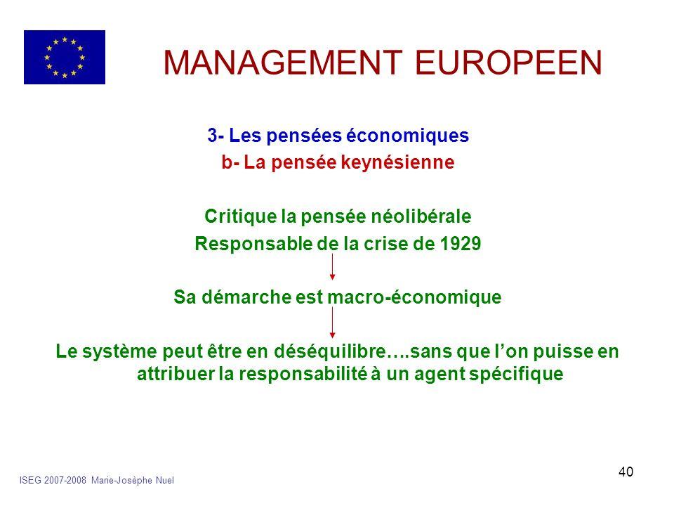 40 MANAGEMENT EUROPEEN 3- Les pensées économiques b- La pensée keynésienne Critique la pensée néolibérale Responsable de la crise de 1929 Sa démarche