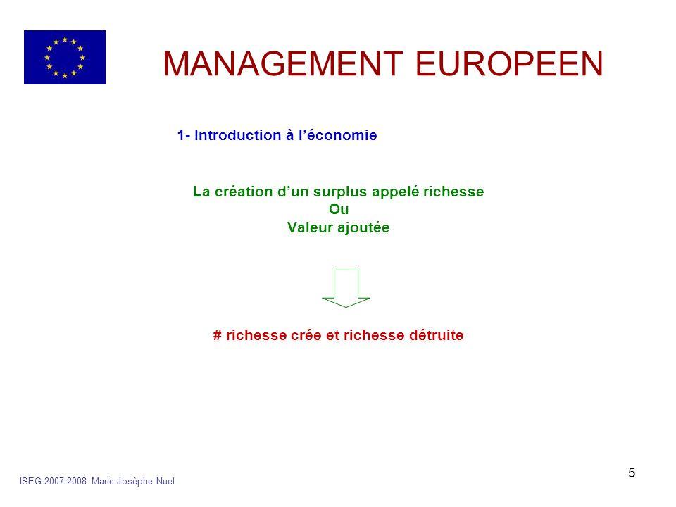 16 MANAGEMENT EUROPEEN 2- le circuit économique b- son schéma ISEG 2007-2008 Marie-Josèphe Nuel Administrations LE RESTE DU MONDE EntreprisesMénages Institutions financières Marché des B&S M X M production consommation