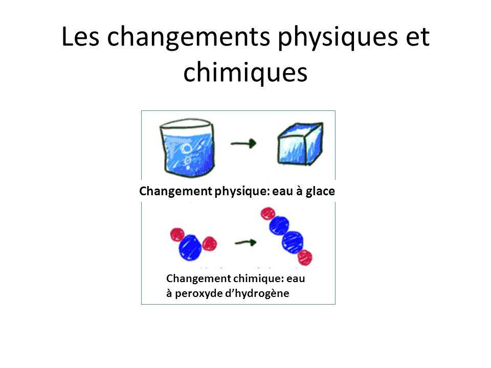 Les changements physiques et chimiques Changement physique: eau à glace Changement chimique: eau à peroxyde dhydrogène