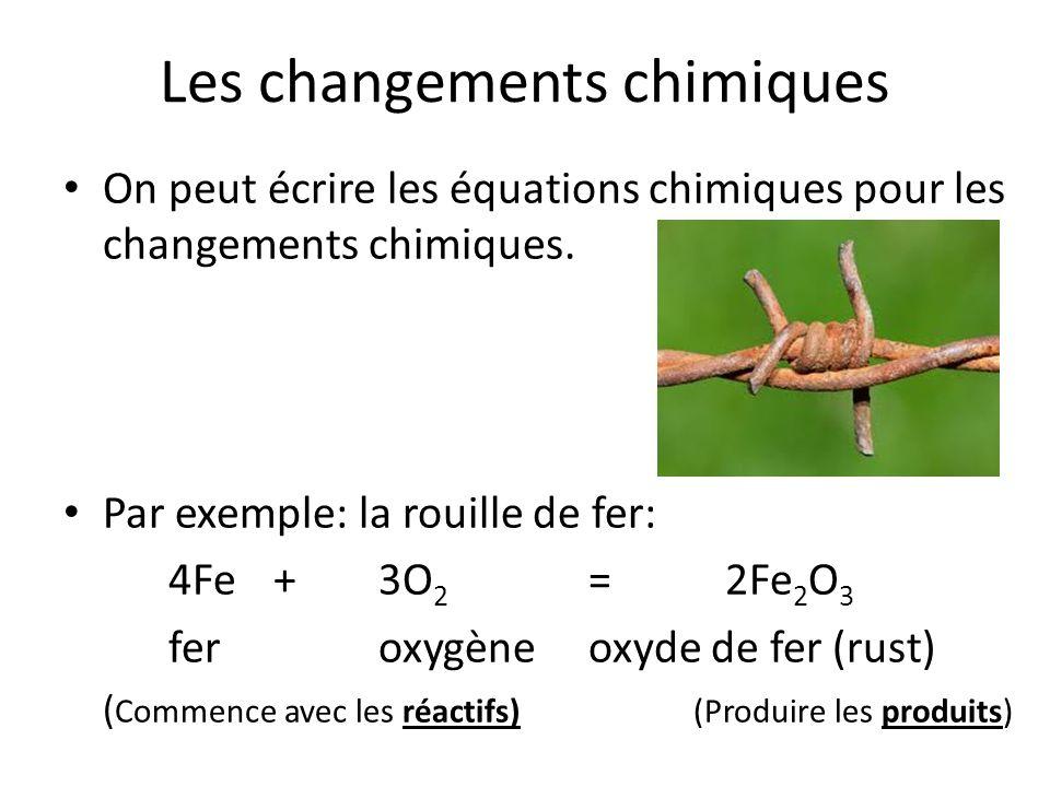On peut écrire les équations chimiques pour les changements chimiques. Par exemple: la rouille de fer: 4Fe+3O 2 = 2Fe 2 O 3 feroxygèneoxyde de fer (ru