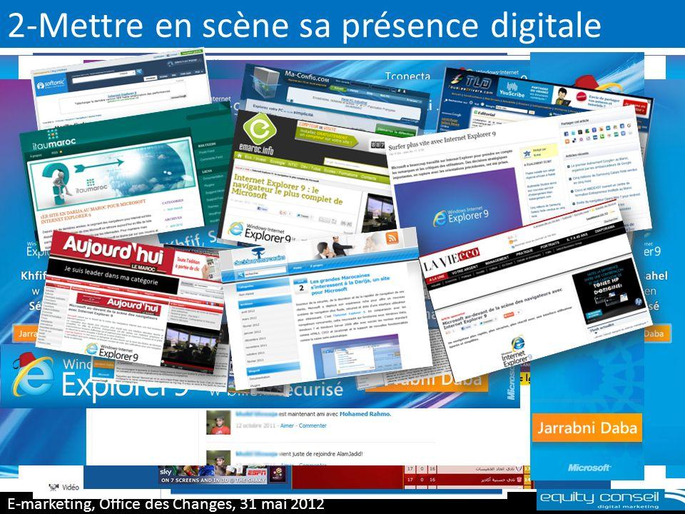 3-Mettre en scène sa présence digitale E-marketing, Office des Changes, 31 mai 2012 (*) Plus de 20 retombées dans la presse offline passage sur Hit Radio et 2M Résultats en terme de e-réputation
