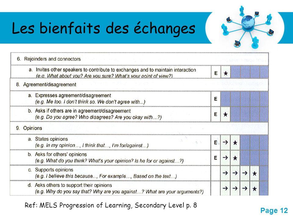 Free Powerpoint Templates Page 12 Les bienfaits des échanges Ref: MELS Progression of Learning, Secondary Level p. 8