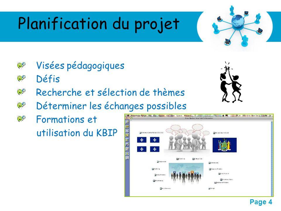 Free Powerpoint Templates Page 4 Planification du projet Visées pédagogiques Défis Recherche et sélection de thèmes Déterminer les échanges possibles