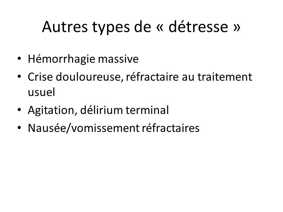 Autres types de « détresse » Hémorrhagie massive Crise douloureuse, réfractaire au traitement usuel Agitation, délirium terminal Nausée/vomissement réfractaires