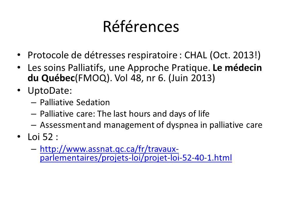 Références Protocole de détresses respiratoire : CHAL (Oct.