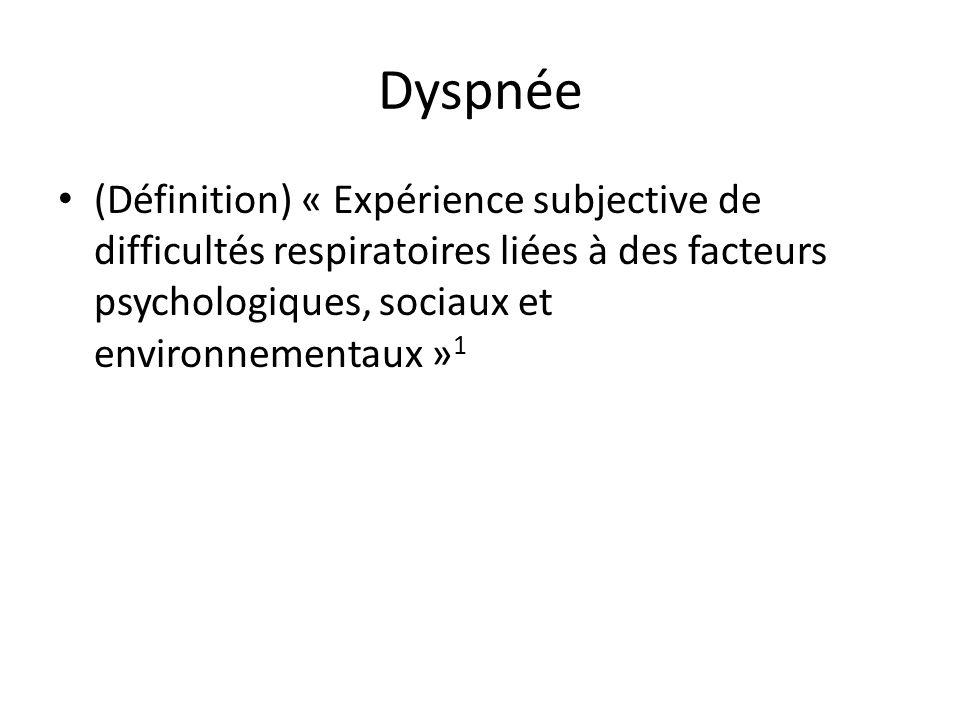 Dyspnée (Définition) « Expérience subjective de difficultés respiratoires liées à des facteurs psychologiques, sociaux et environnementaux » 1