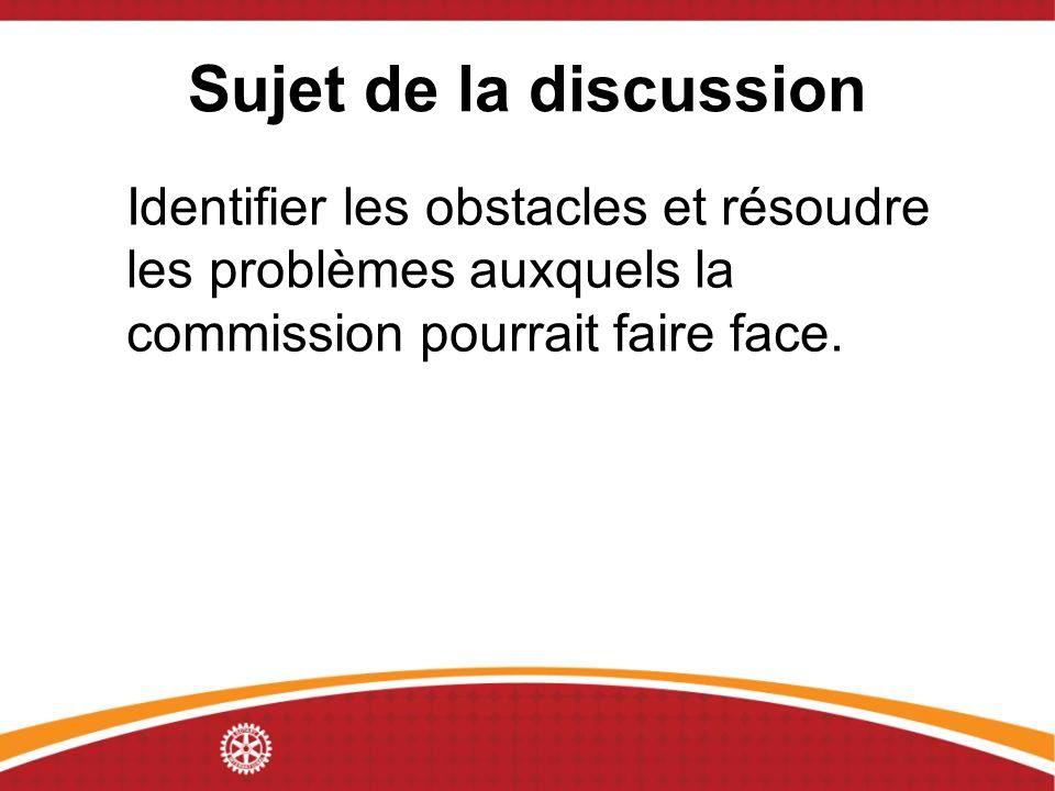 Sujet de la discussion Identifier les obstacles et résoudre les problèmes auxquels la commission pourrait faire face.