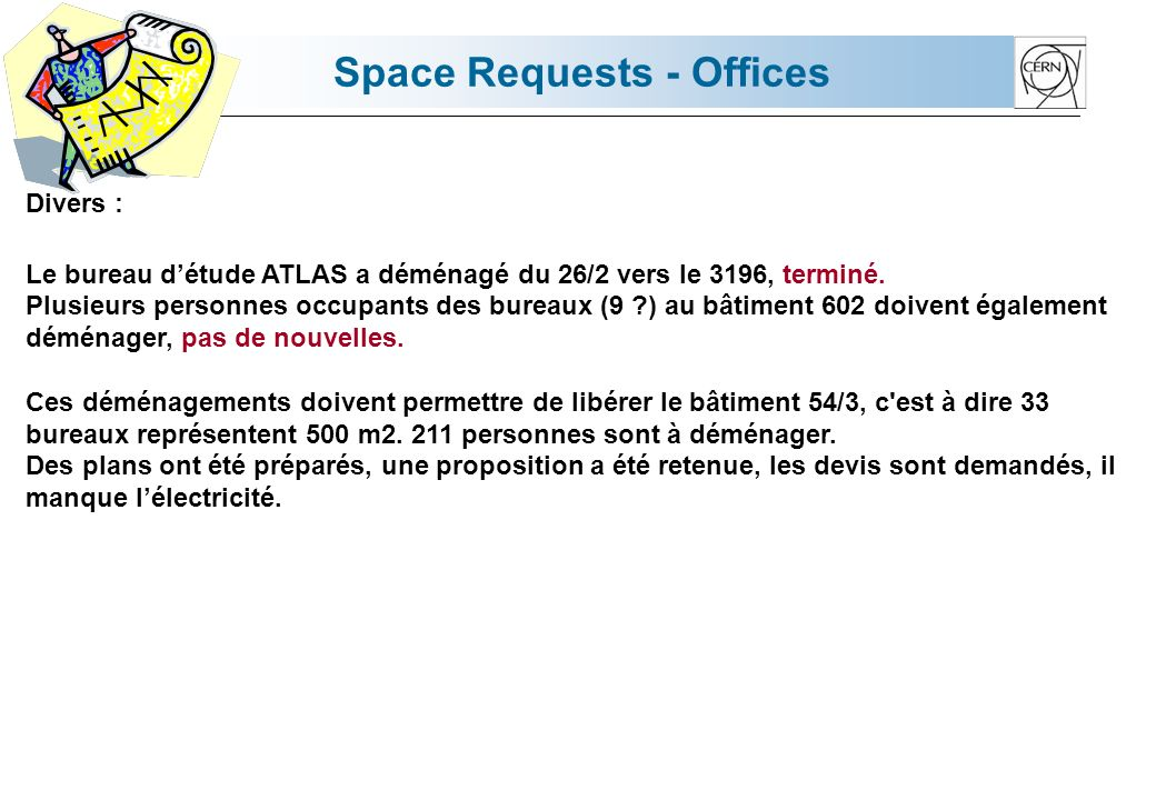 Space Requests - Offices Divers : Le bureau détude ATLAS a déménagé du 26/2 vers le 3196, terminé.