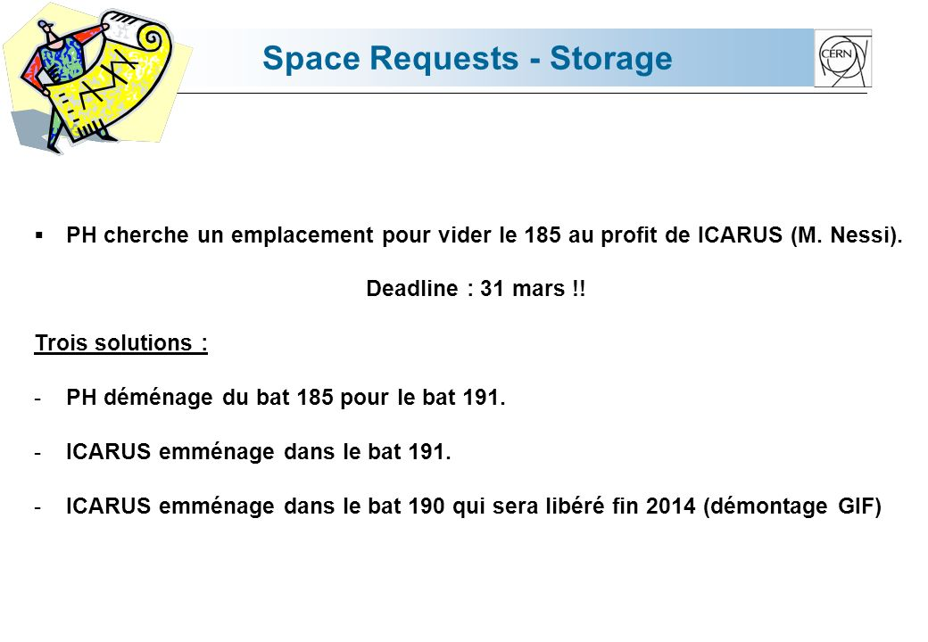 Space Requests - Storage PH cherche un emplacement pour vider le 185 au profit de ICARUS (M.