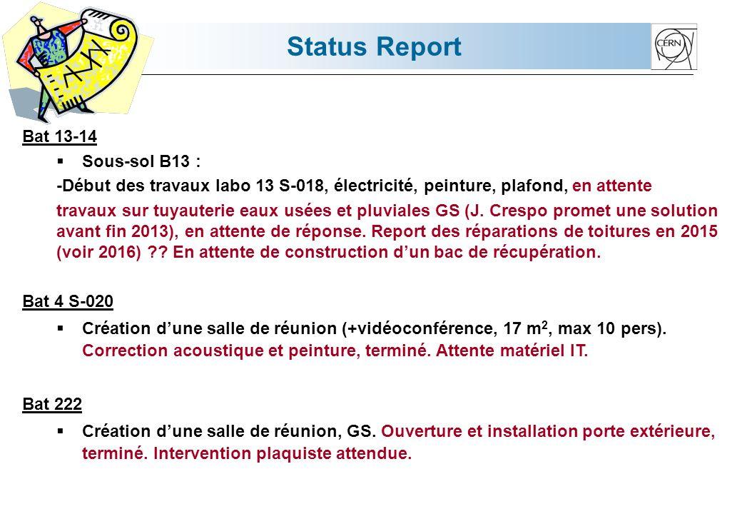 Status Report Bat 13-14 Sous-sol B13 : -Début des travaux labo 13 S-018, électricité, peinture, plafond, en attente travaux sur tuyauterie eaux usées et pluviales GS (J.