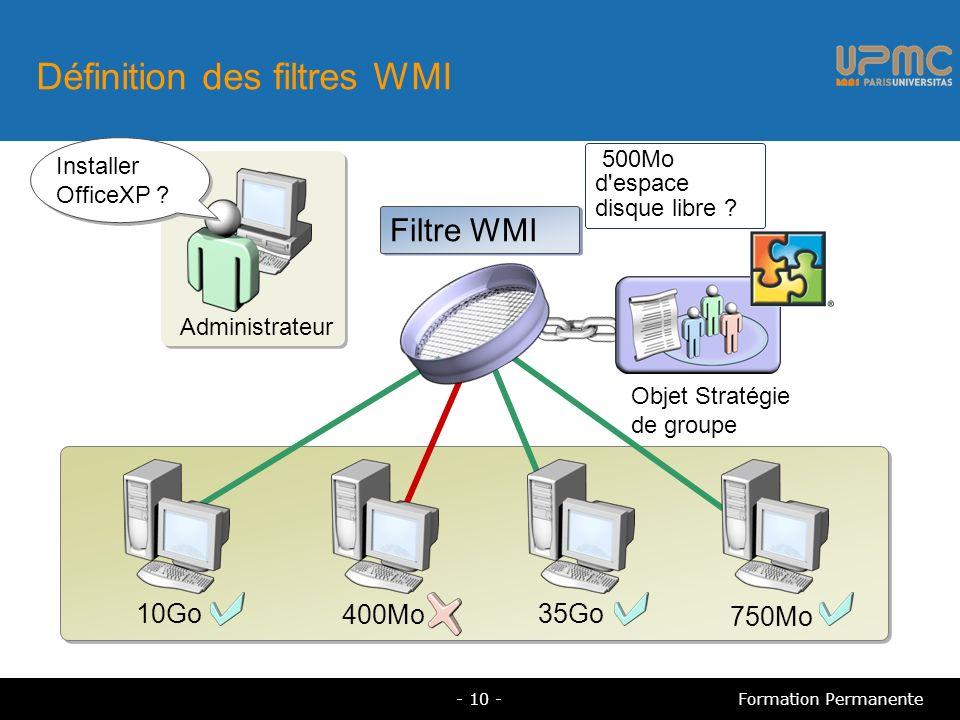 Définition des filtres WMI 500Mo d espace disque libre .