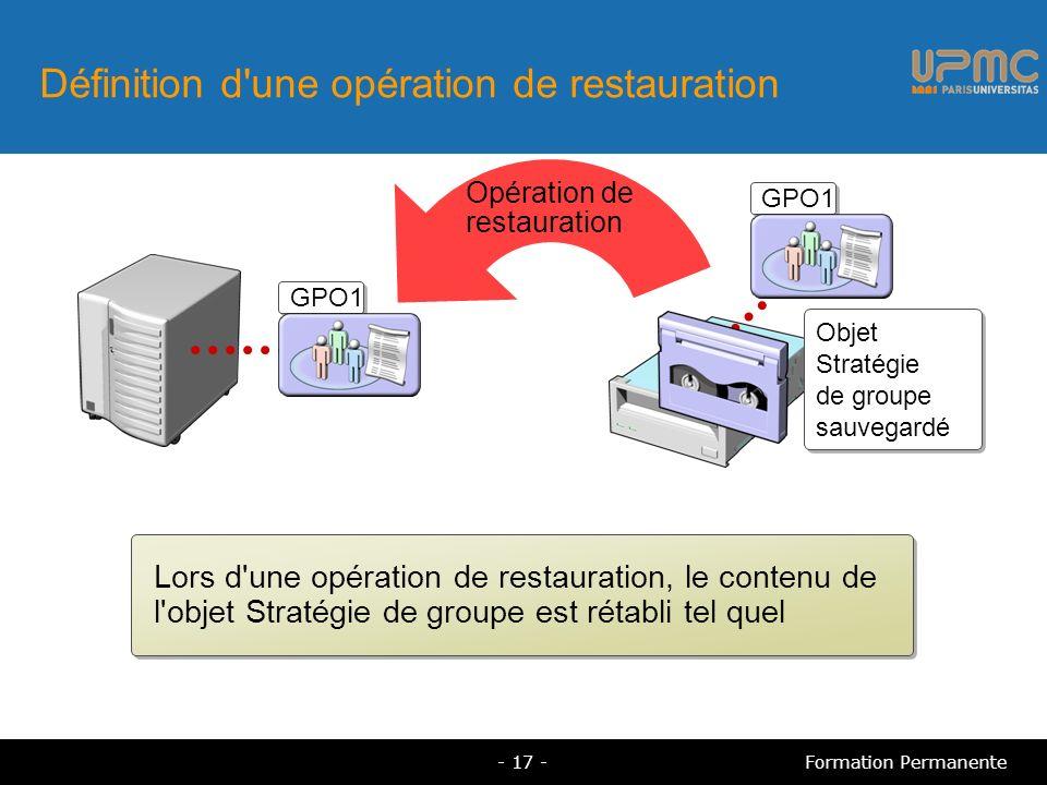 Définition d une opération de restauration Lors d une opération de restauration, le contenu de l objet Stratégie de groupe est rétabli tel quel Opération de restauration GPO1 Objet Stratégie de groupe sauvegardé GPO1 - 17 -Formation Permanente