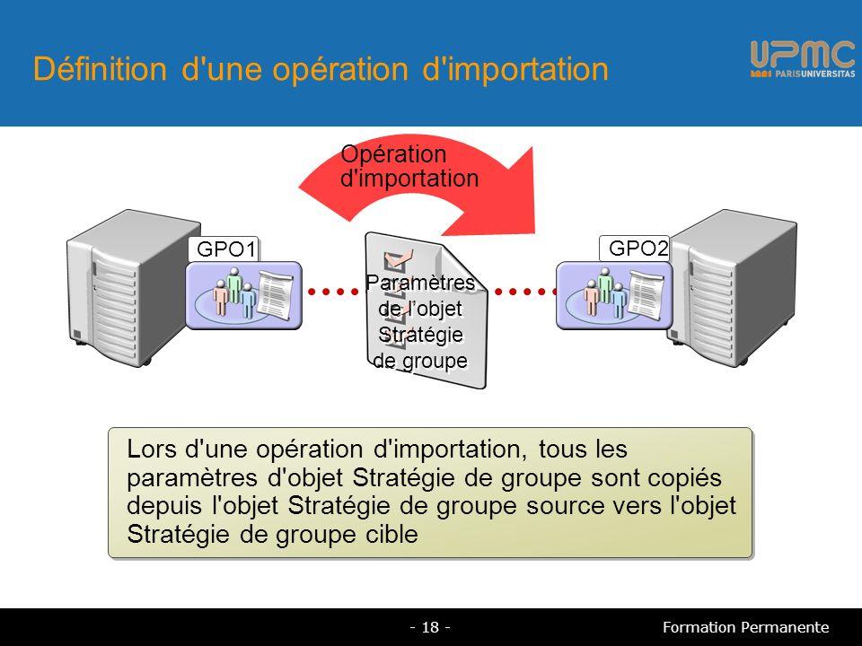 Définition d une opération d importation Lors d une opération d importation, tous les paramètres d objet Stratégie de groupe sont copiés depuis l objet Stratégie de groupe source vers l objet Stratégie de groupe cible GPO1 Opération d importation GPO2 Paramètres de lobjet Stratégie de groupe - 18 -Formation Permanente