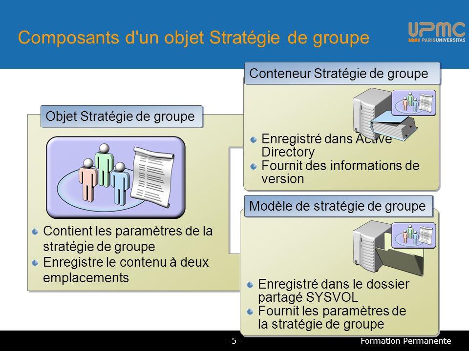 Instructions de planification des objets Stratégie de groupe Appliquez les paramètres de stratégie de groupe au plus haut niveau Diminuez le nombre des objets Stratégie de groupe Créez des objets Stratégie de groupe spécialisés Désactivez les paramètres de configuration de l ordinateur ou de l utilisateur - 26 -Formation Permanente