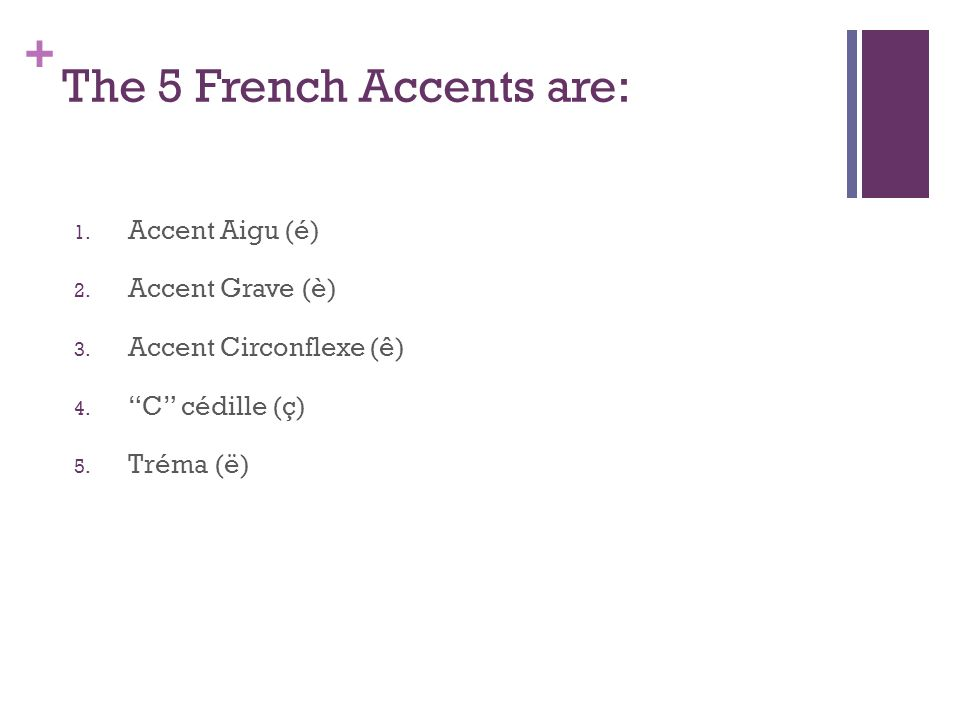 + The 5 French Accents are: 1. Accent Aigu (é) 2.