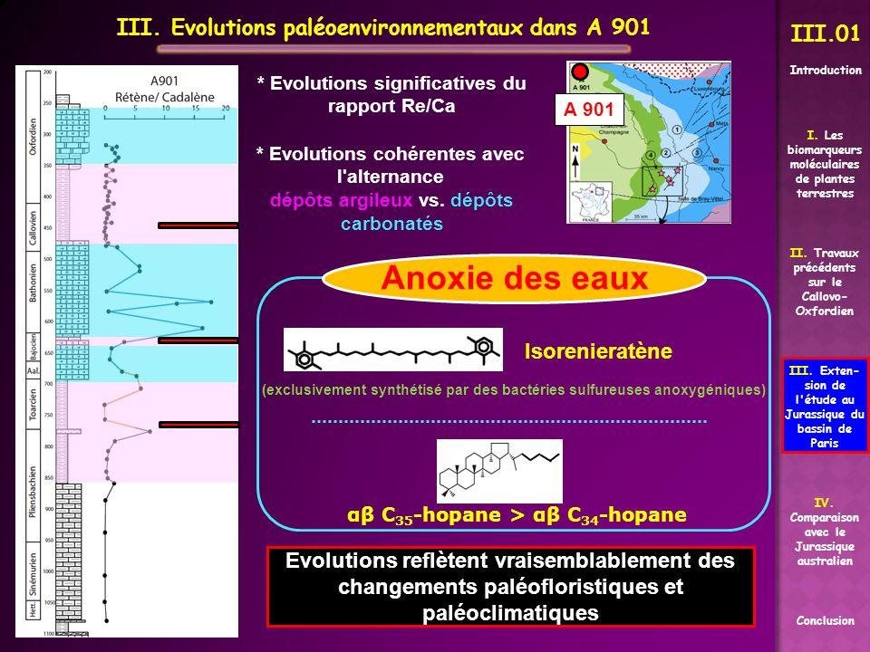 III. Evolutions paléoenvironnementaux dans A 901 II. Travaux précédents sur le Callovo- Oxfordien Conclusion I. Les biomarqueurs moléculaires de plant