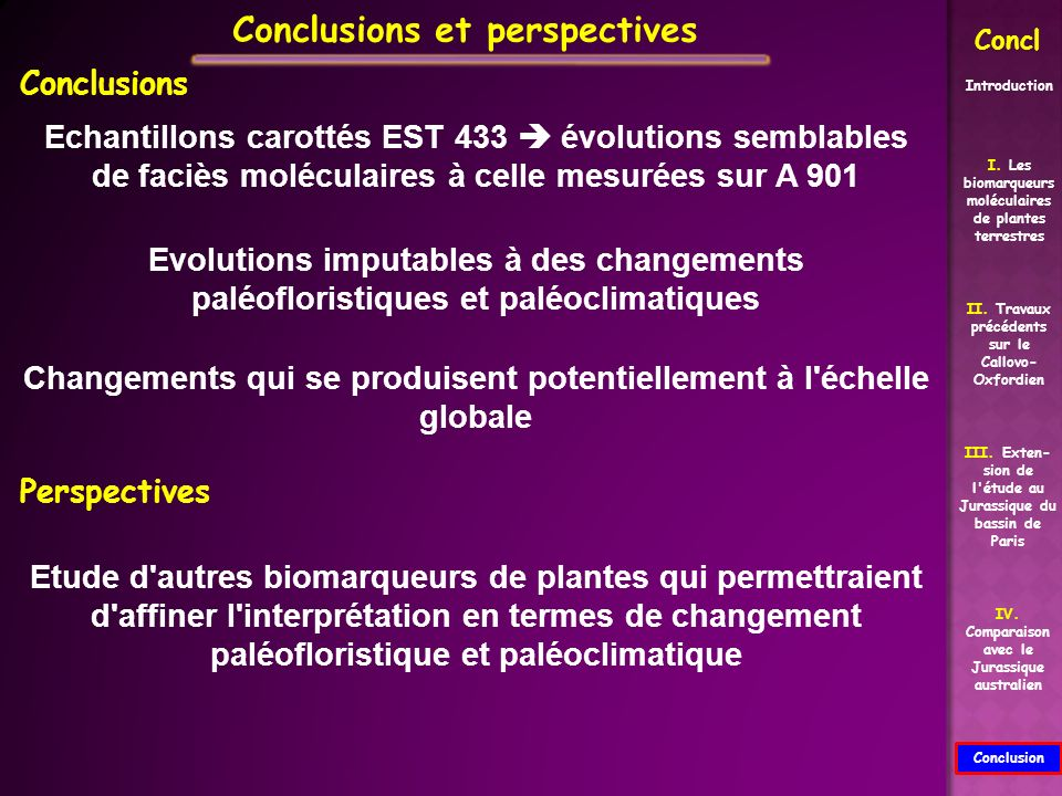II. Travaux précédents sur le Callovo- Oxfordien Conclusion I. Les biomarqueurs moléculaires de plantes terrestres III. Exten- sion de l'étude au Jura