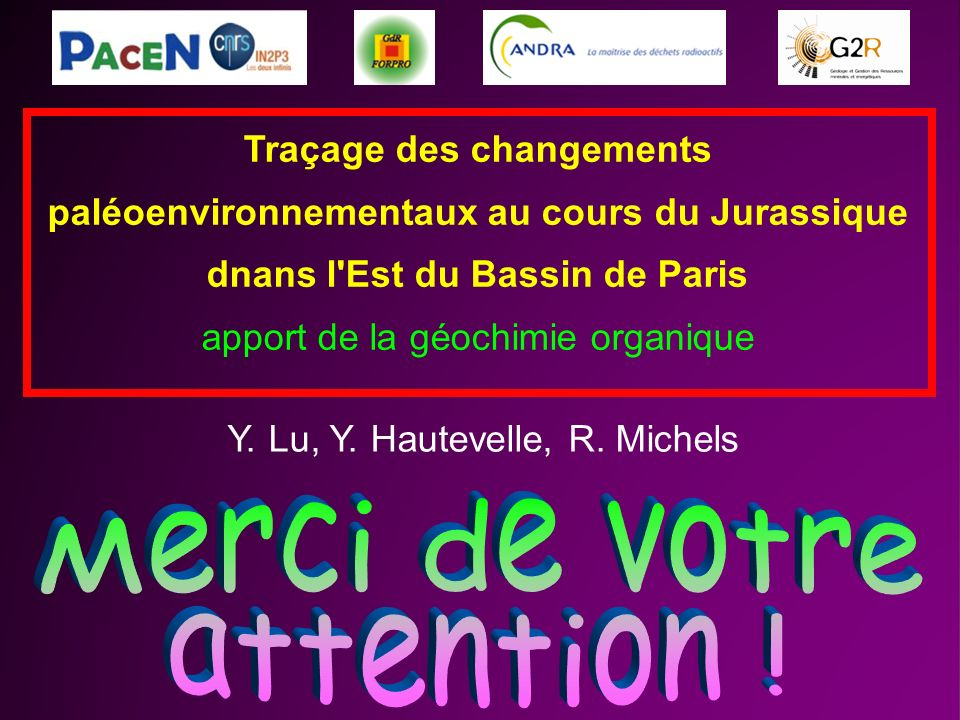 Traçage des changements paléoenvironnementaux au cours du Jurassique dnans l'Est du Bassin de Paris apport de la géochimie organique Y. Lu, Y. Hauteve
