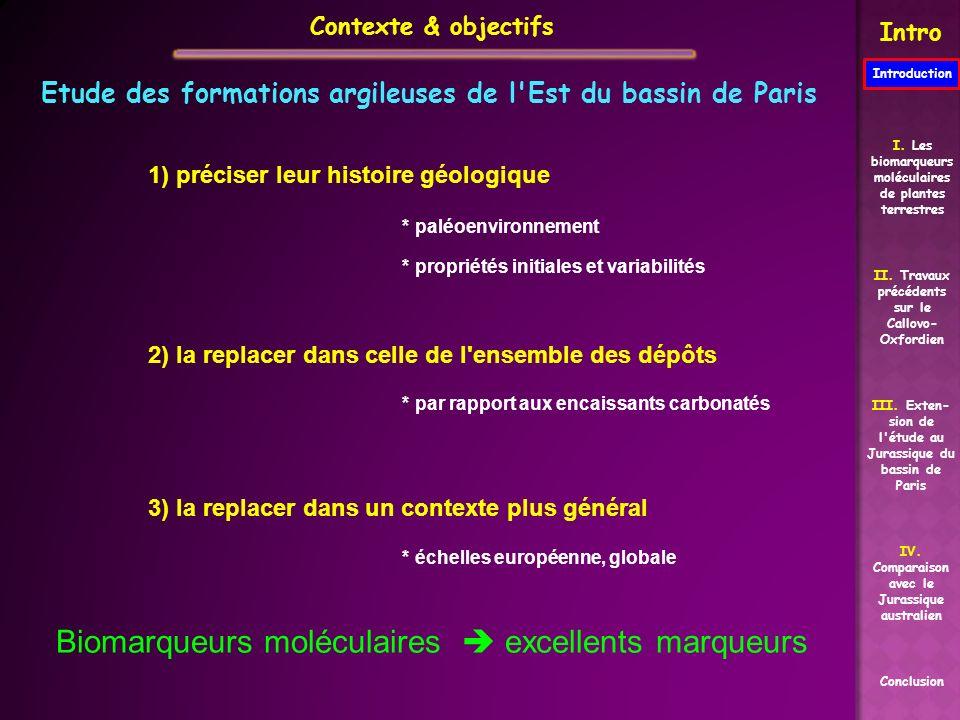 Contexte & objectifs Intro Etude des formations argileuses de l'Est du bassin de Paris 1) préciser leur histoire géologique * paléoenvironnement * pro