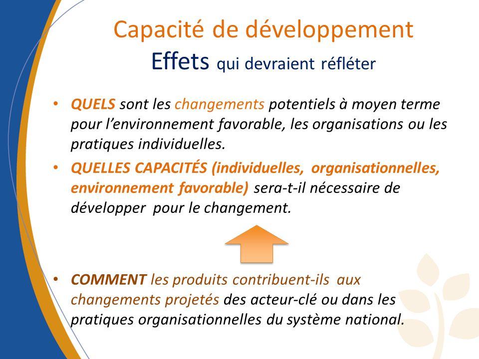 Capacité de développement Effets qui devraient réfléter QUELS sont les changements potentiels à moyen terme pour lenvironnement favorable, les organis