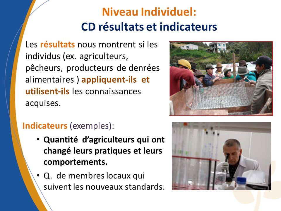 Niveau Individuel: CD résultats et indicateurs Les résultats nous montrent si les individus (ex. agriculteurs, pêcheurs, producteurs de denrées alimen