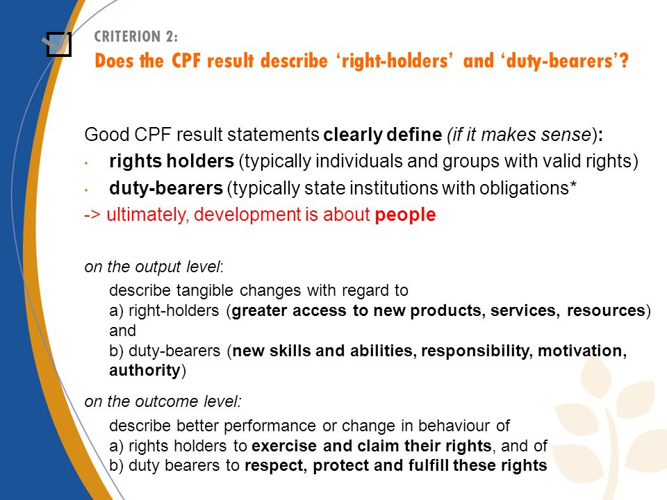 CRITERION 2: Does the CPF result describe right-holders and duty-bearers.