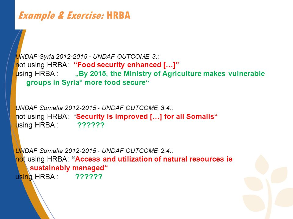 Example & Exercise: HRBA UNDAF Syria 2012-2015 - UNDAF OUTCOME 3.: not using HRBA: Food security enhanced […] using HRBA : By 2015, the Ministry of Ag