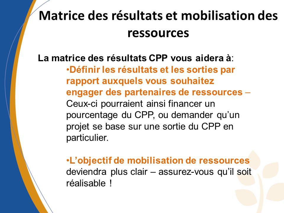 Matrice des résultats et mobilisation des ressources La matrice des résultats CPP vous aidera à: Définir les résultats et les sorties par rapport auxq