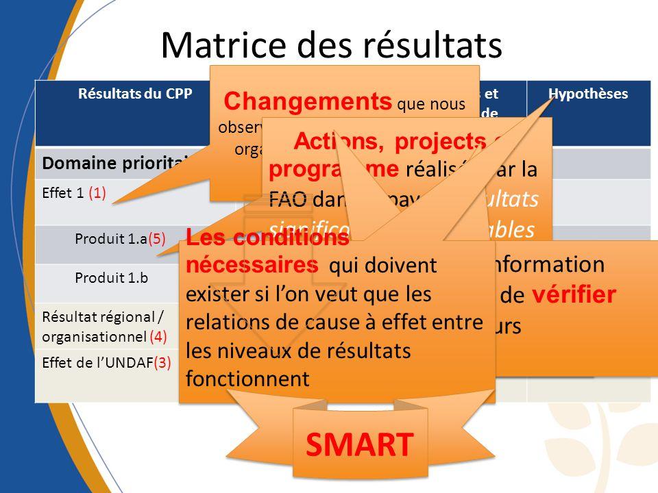 Matrice des résultats Résultats du CPPIndicateurs, données de référence et objectif Moyens et sources de vérification Hypothèses Domaine prioritaire (