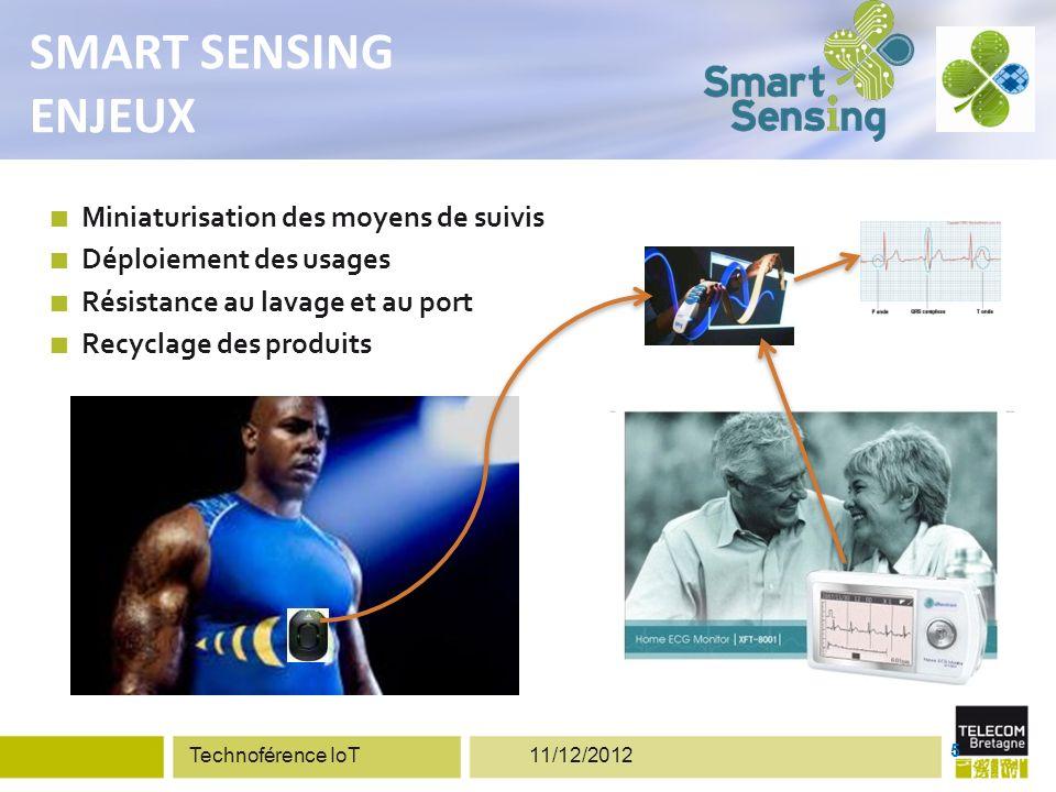 Miniaturisation des moyens de suivis Déploiement des usages Résistance au lavage et au port Recyclage des produits 5 SMART SENSING ENJEUX Technoférence IoT 11/12/2012