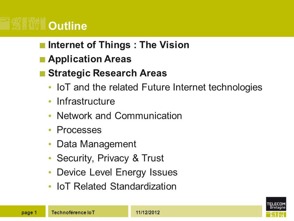 Projet SIGAAL : « Services Inter Générationnels pour l Assistance aux Aînés dans leur Logement » Technoférence IoT 11/12/2012page 12