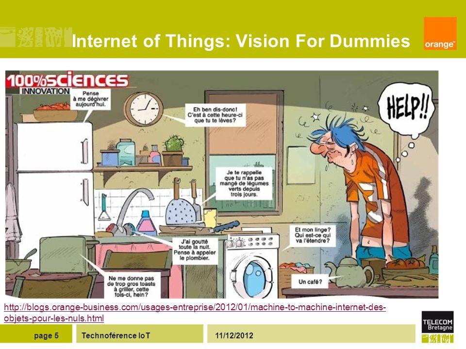 Internet of Things: Vision For Dummies Technoférence IoT 11/12/2012page 5 http://blogs.orange-business.com/usages-entreprise/2012/01/machine-to-machine-internet-des- objets-pour-les-nuls.html