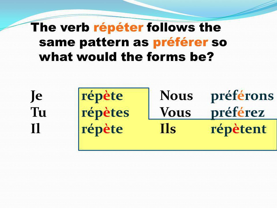 The verb répéter follows the same pattern as préférer so what would the forms be.