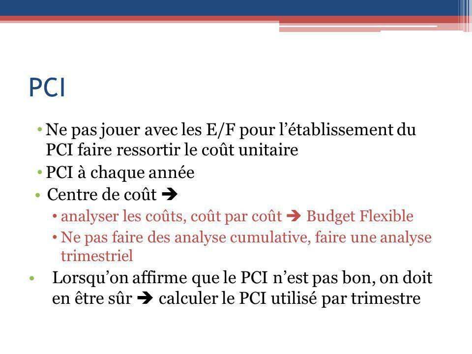 PCI Ne pas jouer avec les E/F pour létablissement du PCI faire ressortir le coût unitaire PCI à chaque année Centre de coût analyser les coûts, coût p