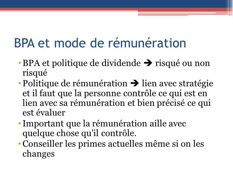 BPA et mode de rémunération BPA et politique de dividende risqué ou non risqué Politique de rémunération lien avec stratégie et il faut que la personn