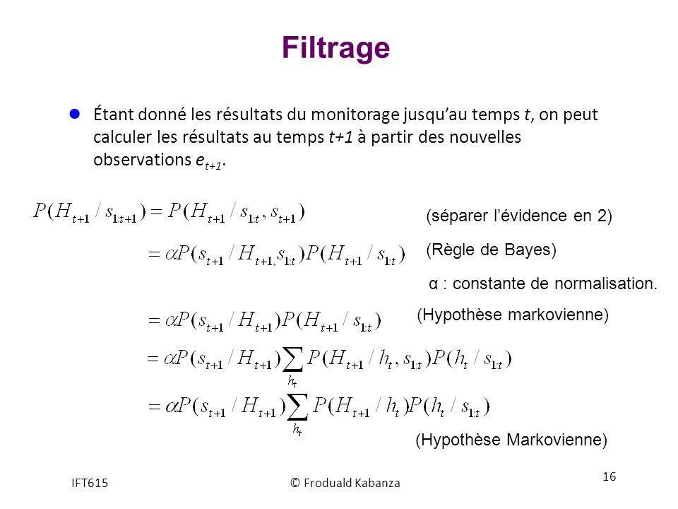 Filtrage Étant donné les résultats du monitorage jusquau temps t, on peut calculer les résultats au temps t+1 à partir des nouvelles observations e t+