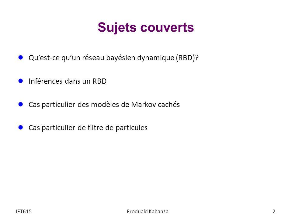 Sujets couverts Quest-ce quun réseau bayésien dynamique (RBD)? Inférences dans un RBD Cas particulier des modèles de Markov cachés Cas particulier de