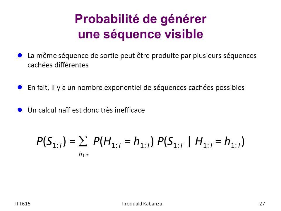 La même séquence de sortie peut être produite par plusieurs séquences cachées différentes En fait, il y a un nombre exponentiel de séquences cachées p