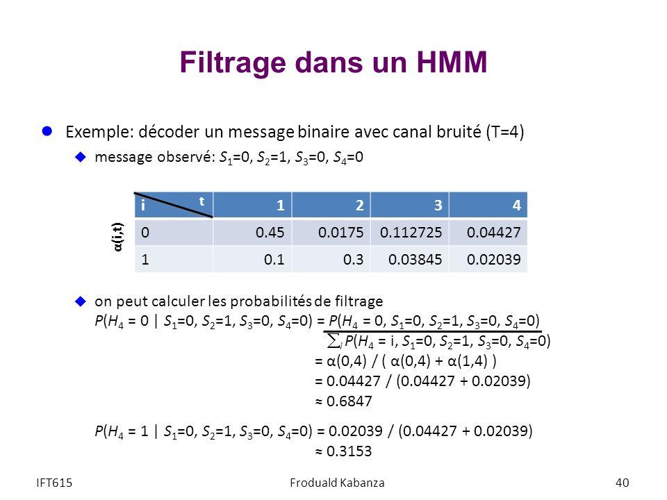 Filtrage dans un HMM Exemple: décoder un message binaire avec canal bruité (T=4) message observé: S 1 =0, S 2 =1, S 3 =0, S 4 =0 on peut calculer les