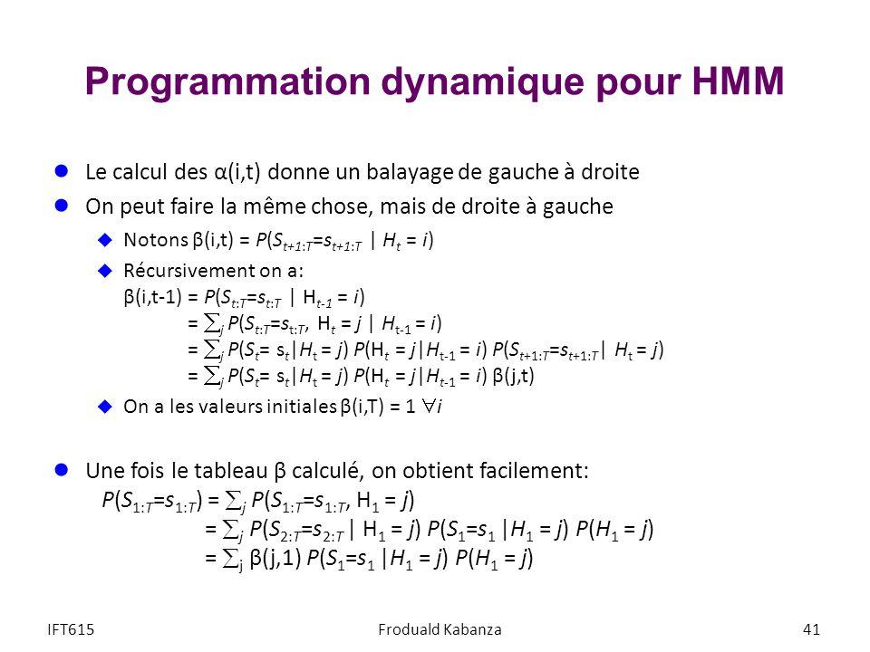 Programmation dynamique pour HMM Le calcul des α(i,t) donne un balayage de gauche à droite On peut faire la même chose, mais de droite à gauche Notons