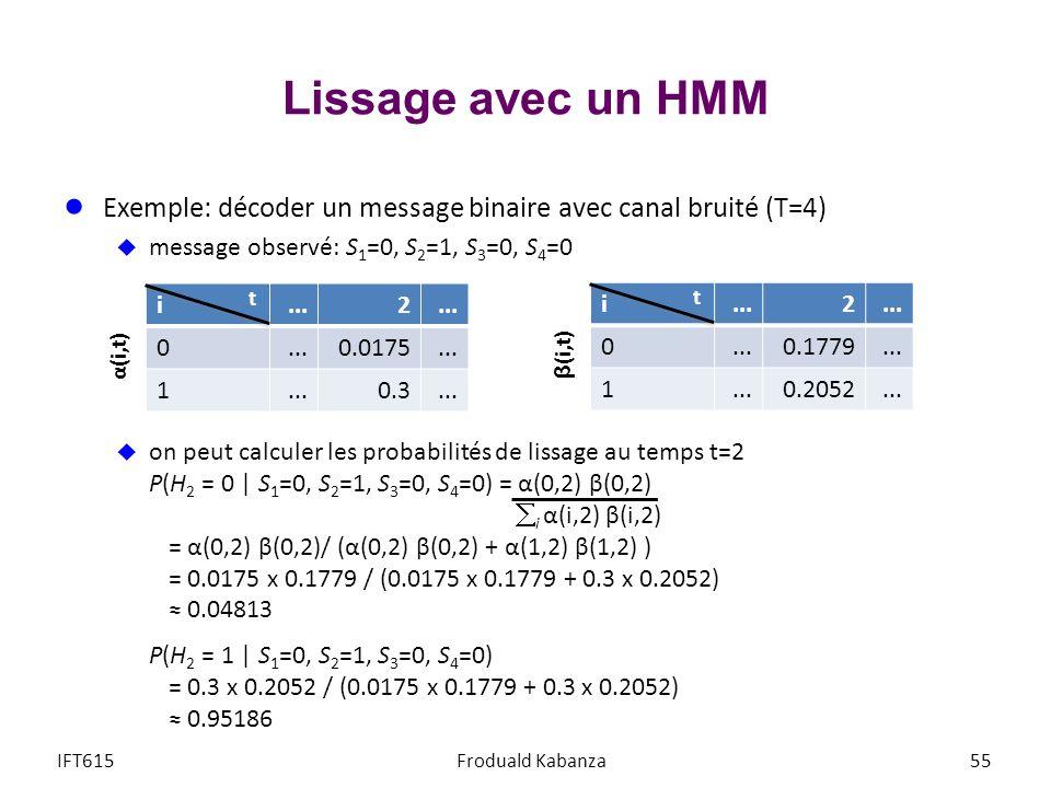 Lissage avec un HMM Exemple: décoder un message binaire avec canal bruité (T=4) message observé: S 1 =0, S 2 =1, S 3 =0, S 4 =0 on peut calculer les p