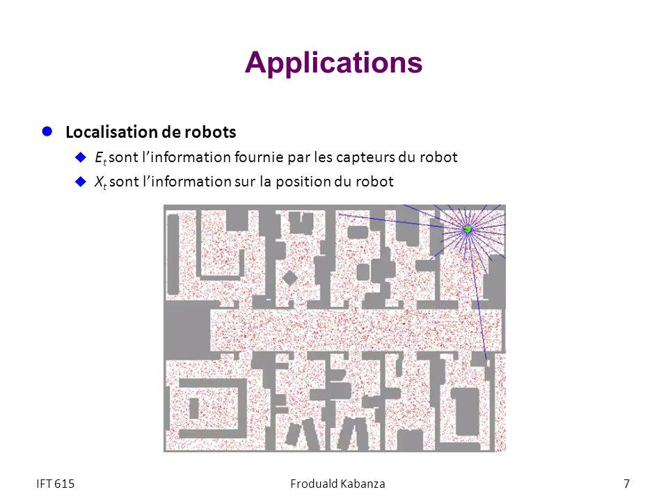 Applications Localisation de robots E t sont linformation fournie par les capteurs du robot X t sont linformation sur la position du robot IFT 615Frod