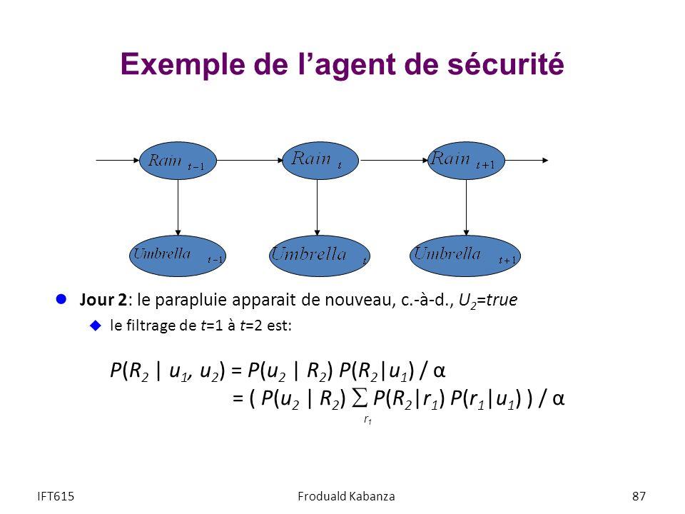 Jour 2: le parapluie apparait de nouveau, c.-à-d., U 2 =true le filtrage de t=1 à t=2 est: P(R 2 | u 1, u 2 ) = P(u 2 | R 2 ) P(R 2 |u 1 ) / α = ( P(u