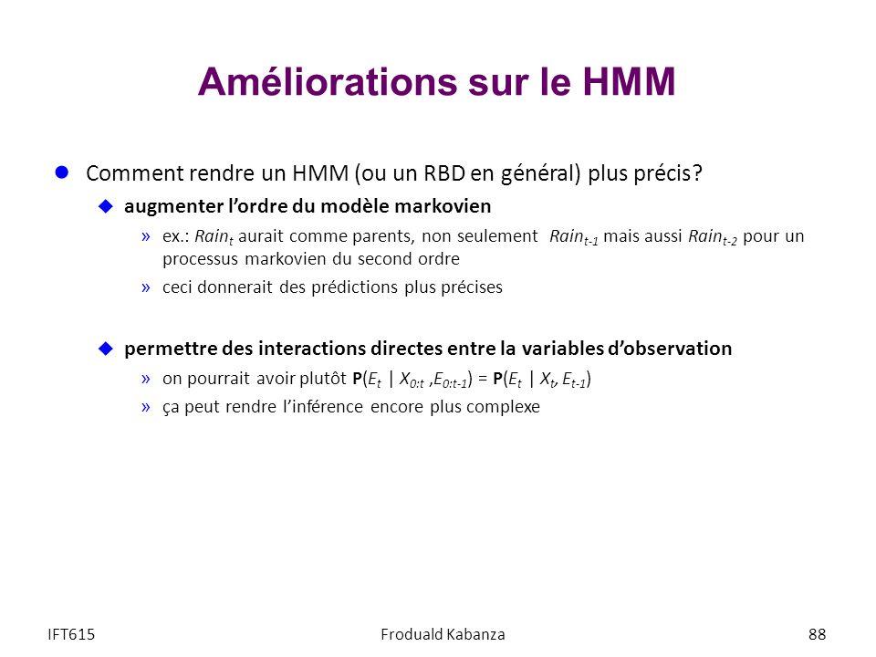 Améliorations sur le HMM Comment rendre un HMM (ou un RBD en général) plus précis? augmenter lordre du modèle markovien »ex.: Rain t aurait comme pare