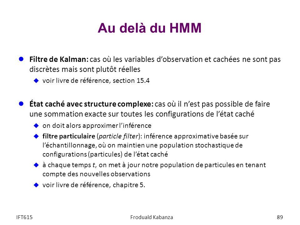 Au delà du HMM Filtre de Kalman: cas où les variables dobservation et cachées ne sont pas discrètes mais sont plutôt réelles voir livre de référence,