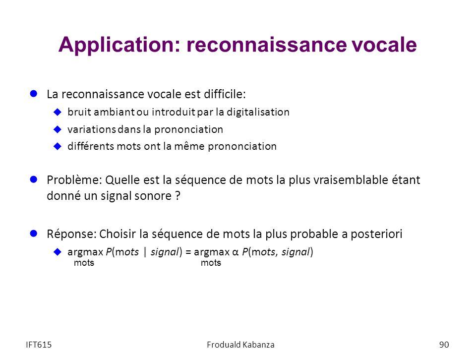 Application: reconnaissance vocale La reconnaissance vocale est difficile: bruit ambiant ou introduit par la digitalisation variations dans la prononc