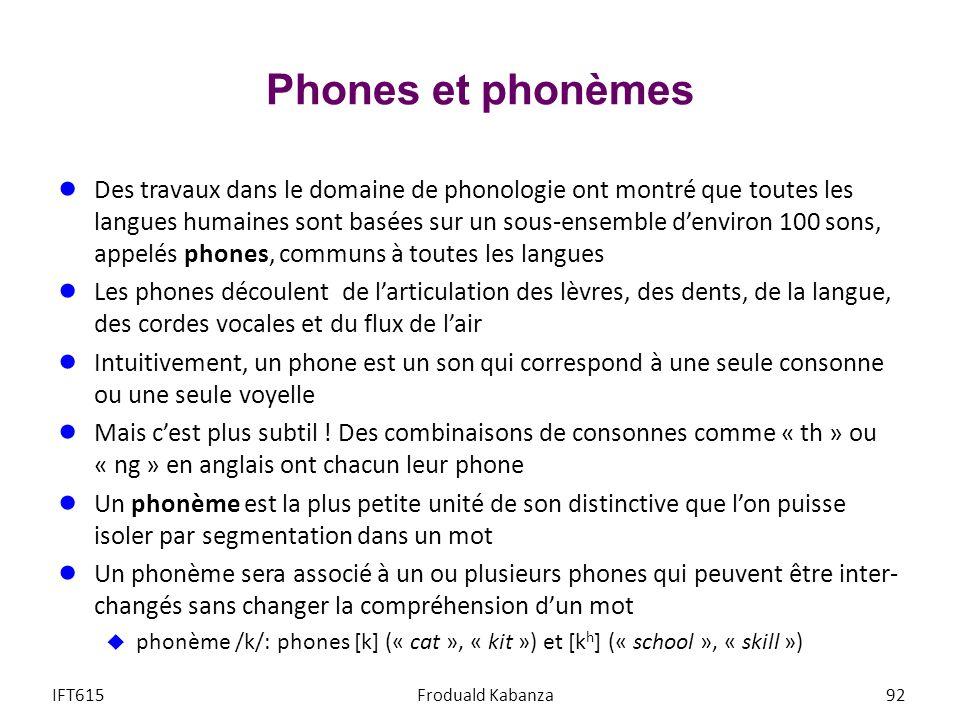 Phones et phonèmes Des travaux dans le domaine de phonologie ont montré que toutes les langues humaines sont basées sur un sous-ensemble denviron 100