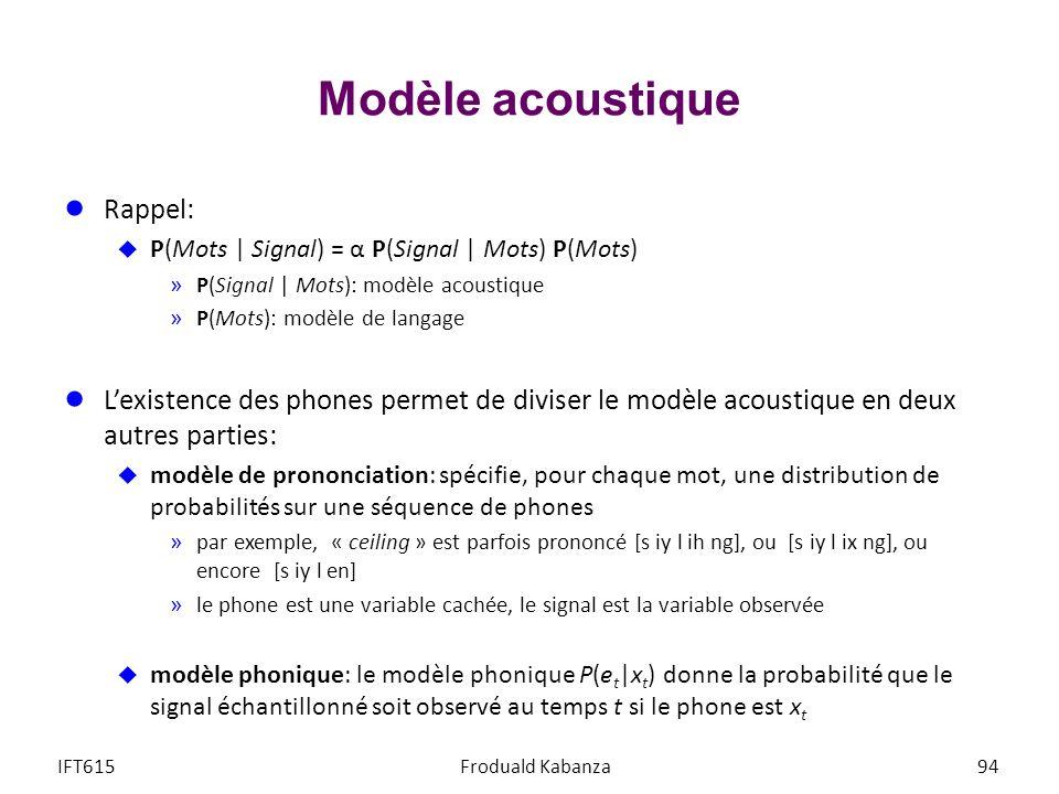 Modèle acoustique Rappel: P(Mots | Signal) = α P(Signal | Mots) P(Mots) »P(Signal | Mots): modèle acoustique »P(Mots): modèle de langage Lexistence de