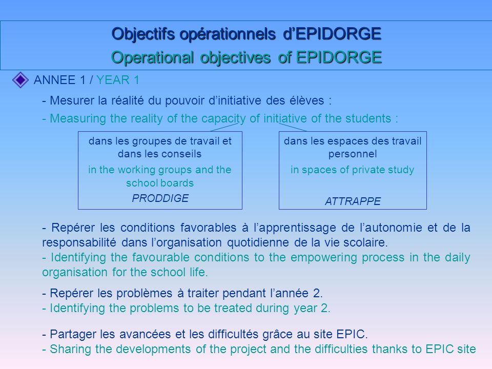 Objectifs opérationnels dEPIDORGE Operational objectives of EPIDORGE ANNEE 1 / YEAR 1 dans les groupes de travail et dans les conseils in the working