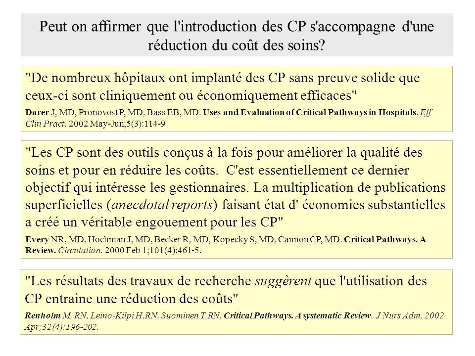 De nombreux hôpitaux ont implanté des CP sans preuve solide que ceux-ci sont cliniquement ou économiquement efficaces Darer J, MD, Pronovost P, MD, Bass EB, MD.
